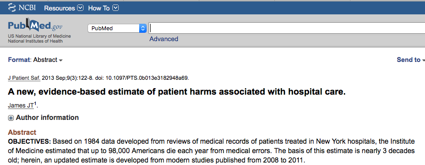 a new evidence based estimate of patient A new, evidence-based estimate of patient harms associated with hospital care.